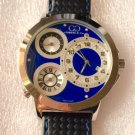 CC-BTW-50mm-BLU-SS   Curtis & Co Big Time World 3-Time 50mm Stainless Steel Watch NEW!