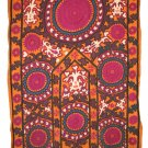 RARE FINE SUZANI, ANTIQUE UZBEK SILK EMBROIDERY, 1880
