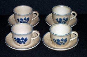 4 Pfaltzgraff FOLK ART Cups & Saucers