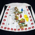 Vintage Unused 50`s Cailifornia Heavy Cotton Spanish Missions Souvenier APRON w/Palm Trees~Ex