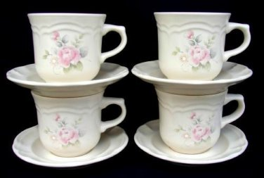 4 Pfaltzgraff TEA ROSE Cups & Saucers