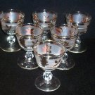 "6 Libbey Stem Rock Sharpe GOLDEN FOLIAGE 3 7/8"" Wine Cocktail Glasses Frosted"