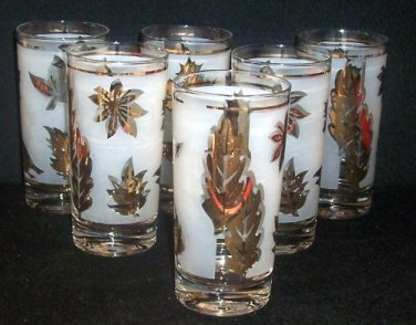 "6 Libbey Rock Sharpe GOLDEN FOLIAGE 5 1/2"" Tumbler Mixed Drink Bar Glass Frost"