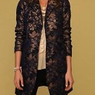 FINAL SALE Free People Brocade Boyfriend Navy Coat Size 0 2