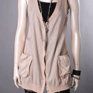 FINAL SALE NEW Cocoa Sheer Snap Button Sleeveless Vest Size Small