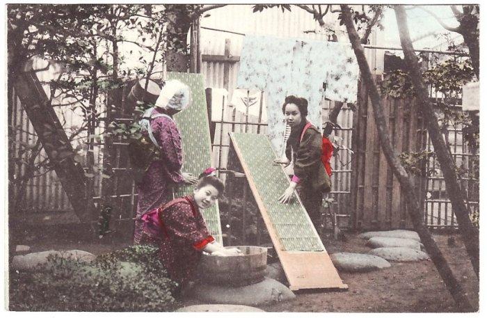 Antique JAPAN Japanese Postcard Hand-Colored Girls Washing Kimono #EG52