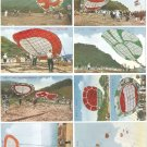 Set of 8 Vintage JAPAN Japanese Postcards w/ Folder Huge Kites #EC47