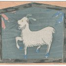 1931 Vintage JAPAN Japanese Art Artist Signed Postcard Woodblock Print Sheep Goat #EAW20