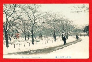 Antique JAPAN Japanese Hand Tinted Colored Postcard  Yokohama Park Snow Scene #EC55