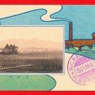 Antique JAPAN Japanese Art Postcard Chimney Smoke Mountain #EA133