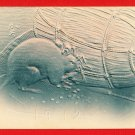 Antique JAPAN Japanese Art Postcard New Year Card Embossed Mouse Mice #EA135