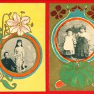Lot of 2  JAPAN Japanese Postcard ART NOUVEAU Floral Photo Frame Boy Girl #EA137