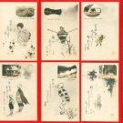 Set of 8 JAPAN Japanese Art Postcard w/ Folder HAIKU #EA142