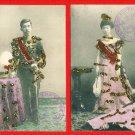 Lot of 2 JAPAN Japanese Hand-Colored Glitter Postcards Emperor Empress TAISHO #EE4