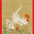 JAPAN Japanese Postcard Original Art Hand Painted Hen Cock Chicken #EAW38