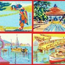 Set of 4 JAPAN Japanese Postcards w/ Folder Woodblock Print GEISHA Temple Boat #EAW39
