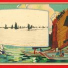Vintage Japanese Postcard South Manchuria Railway Yalu River Boat China #EF14
