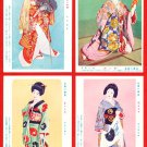 "Set of 4 Vintage JAPAN Japanese Postcards w/ Folder Actress KABUKI ""Female"" Actors #EG97"