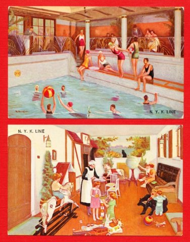 Lot of  of 2 Old JAPAN Japanese Postcards N.Y.K. Line Advertisement #EOA31