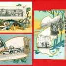 Set of 3 JAPAN Japanese Postcards w/ Folder Exhibition  of Products in 1907 #EOE10