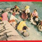 Vintage Postcard FORMOSA Taiwan Women Washing Clothes at River #EF32