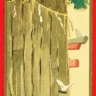 JAPAN Japanese Art Postcard SHINTO Shrine Divine Tree TORII Gate Doves #EA165