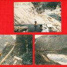 Lot of 3 Old Japanese Postcards FORMOSA Taiwan Taroko Gorge Bridge Hot Spring  #EF42