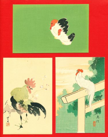 Lot of 3 JAPAN Japanese Postcards Woodblock Print Rooster Cock Hen Chicken #EAW78