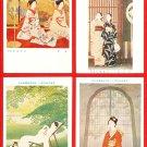 Lot of 4 Vintage JAPAN Japanese Art Artist Postcards Geisha Beauties #EA171