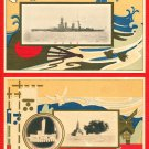 Lot of 2 Antique JAPAN Japanese Postcards Navy Battleship NAGATO #EM160