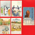 Set of 4 JAPAN Japanese Postcards w/ Folder WWII Home Front Girls Women #EM193