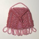 Pink Beaded Knitted Vintage Style Doll Pocketbook
