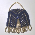 Navy Blue Beaded Knitted Vintage Style Doll Pocketbook
