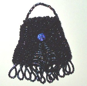 Black Beaded Knitted Vintage Style Doll Pocketbook