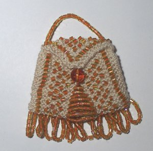 Amber & Ecru Knitted Beaded Vintage Style Doll Pocketbook