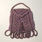 Purple Beaded Knitted Vintage Style Doll Pocketbook