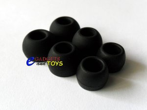 S/M/L Black Replacement Silicone Ear Buds Gels Tips for Zune Premium Earphones