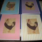 Handmade Chicken Rooster Greeting Cards set  AB4