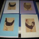 Handmade Chicken Rooster Greeting Cards set AA3
