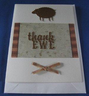 Thank EWE sheep  handmade Greeting Card A T2