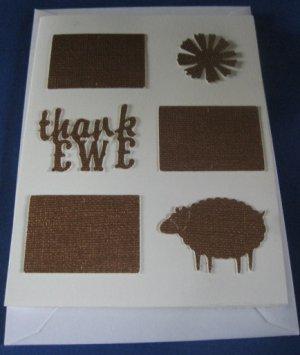 Thank EWE sheep  handmade Greeting Card B T4