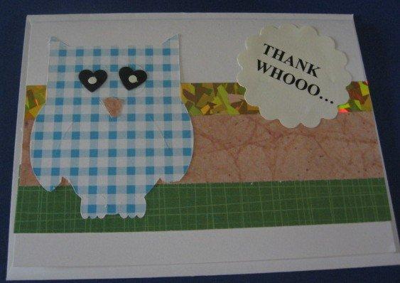 Thank Whooo Owl thank you  handmade Greeting Card T7