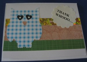 Thank Whooo Owl thank you  handmade Greeting Card T7