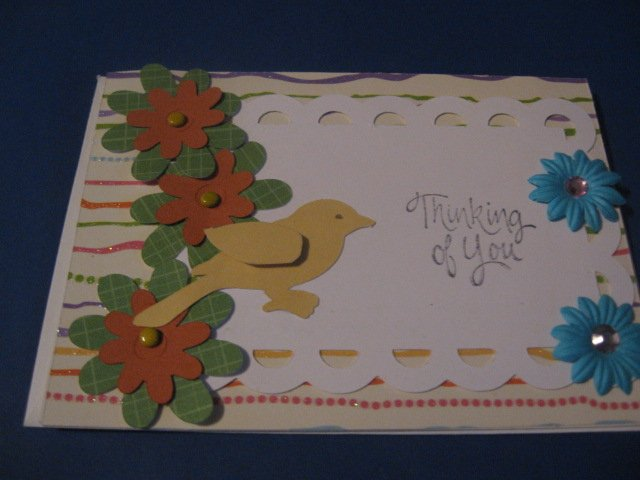 Thinking of You Bird and flowers Greeting Card TH4