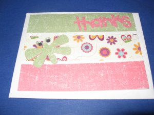 Thanks green butterfly  handmade Greeting Card T11