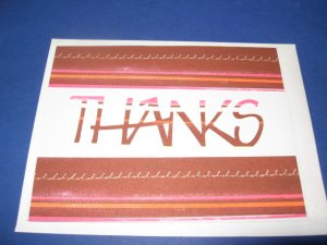 Thanks brown and pink stripes  handmade Greeting Card T15