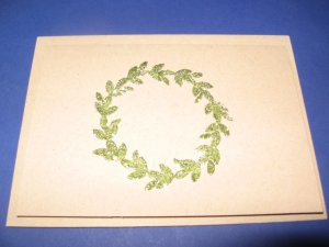 Thanks green glitter wreath handmade Greeting Card T18