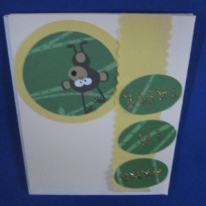 Monkey Hang in There Get Well Soon  Handmade Greeting Card G4