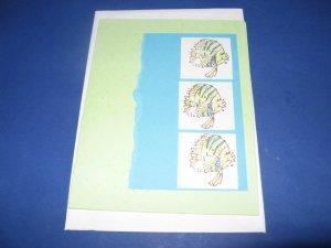 3 Fish handmade greeting card M18