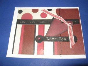 Love You handmade greeting card M20